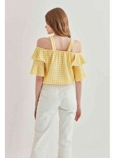 Vitrin VİTRİN Askılı Volanlı Eteği Lastikli Bluz Sarı